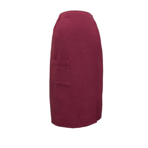 Вафельная накидка на резинке для бани и сауны Премиум женская 80 см цвет 789/3 брусничный фото 1