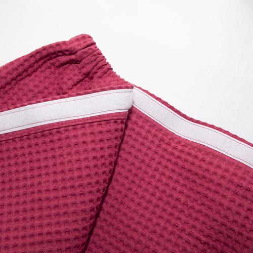 Вафельная накидка на резинке для бани и сауны Премиум женская 80 см цвет 789/3 брусничный фото 4
