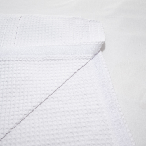 Вафельная накидка на резинке для бани и сауны Премиум женская 80 см цвет белый фото 4
