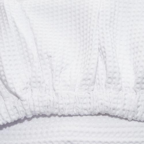 Вафельная накидка на резинке для бани и сауны Премиум женская 80 см цвет белый фото 2