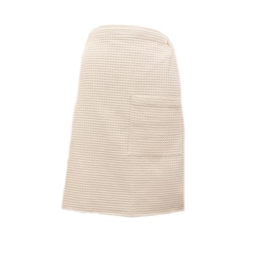 Вафельная накидка на резинке для бани и сауны Премиум мужская 60 см бежевый фото 1
