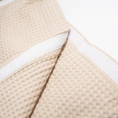 Вафельная накидка на резинке для бани и сауны Премиум мужская 60 см бежевый фото 3