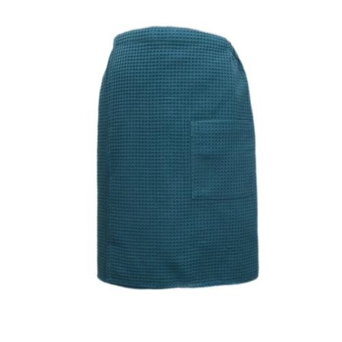 Вафельная накидка на резинке для бани и сауны Премиум мужская 60 см цвет 530 изумруд фото 1