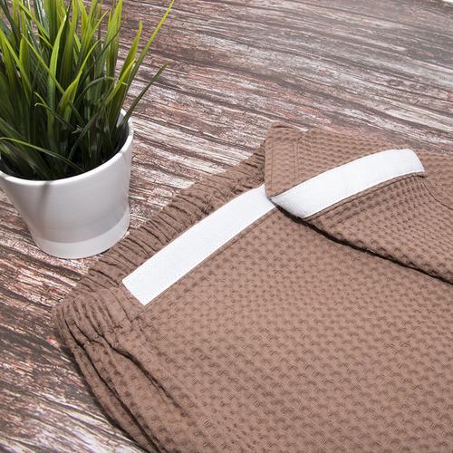 Набор для сауны вафельный мужской 2 предмета цвет коричневый фото 4