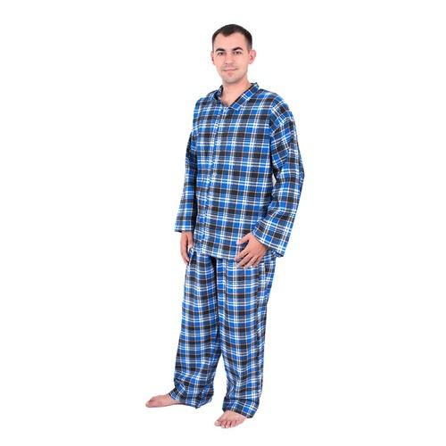 Пижама мужская фланель клетка 44-46 цвет синий фото 1