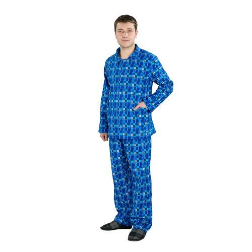 Пижама мужская фланель клетка 40-42 цвет голубой фото 1