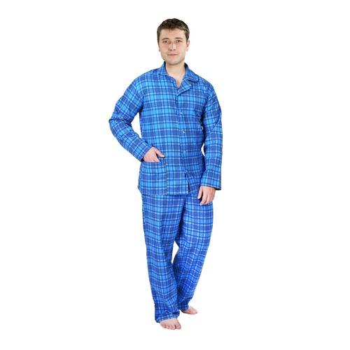 Пижама мужская фланель клетка 44-46 цвет сирень фото 1