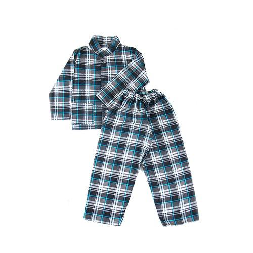 Пижама подростковая фланель клетка 28-30 цвет серый фото 1