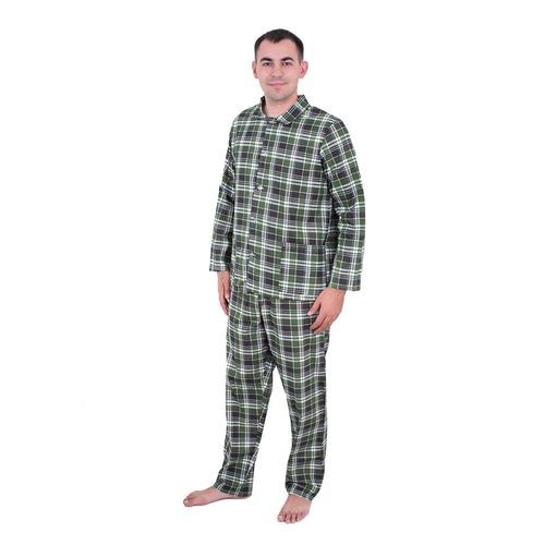 Пижама мужская бязь клетка 44-46 цвет зеленый фото 1