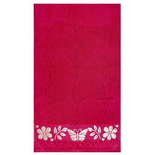 Полотенце велюровое Европа 70/130 см цвет малиновый фото 1