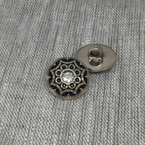 Пуговица ПР156 15мм серебро черная эмаль уп 12 шт фото 1