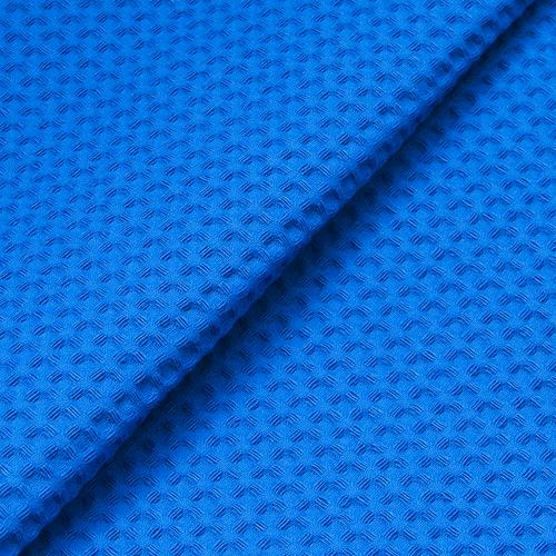 Халат детский вафельный с капюшоном синий премиум 98-104 см фото 2