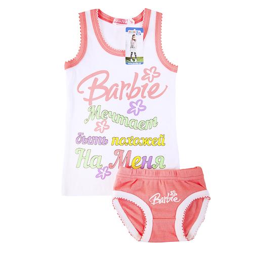 Комплект детский майка + трусы Barbie белый 116 см фото 1