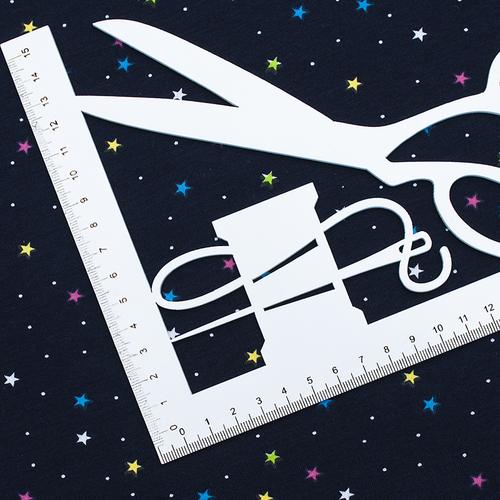 Ткань на отрез интерлок Звезды разноцветные R146 фото 2