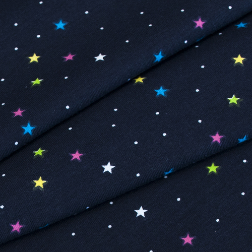 Ткань на отрез интерлок Звезды разноцветные R146 фото 3