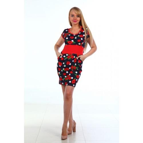 Платье Мария кулирка красные маки на тем.синем Д401 р 56 фото 1