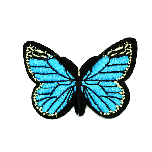 Термоаппликация ТАВ 201 бабочка синяя 8*5,5см фото 1