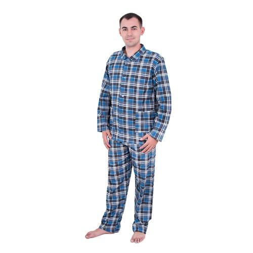 Пижама мужская бязь клетка 56-58 цвет синий фото 1