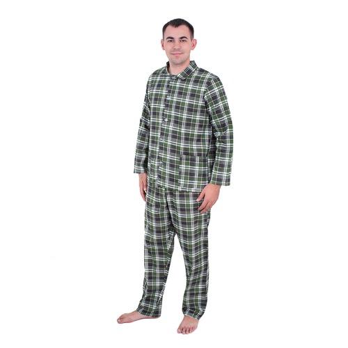 Пижама мужская бязь клетка 56-58 цвет зеленый фото 1