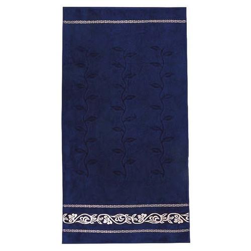Полотенце велюровое Европа 50/90 см цвет синий с вензелями фото 1
