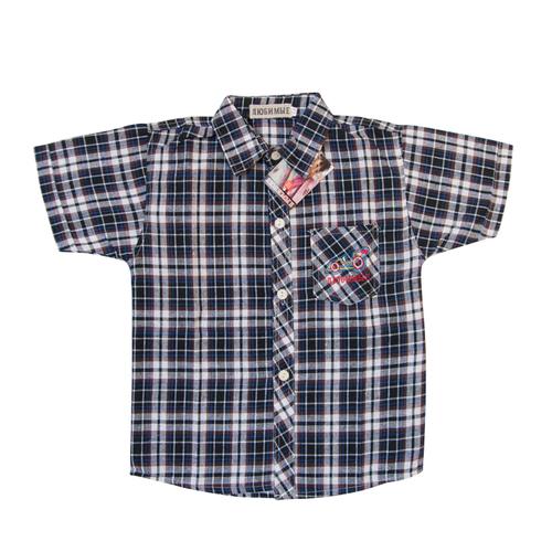 Рубашка детская крупная серая клетка 152 см фото 1
