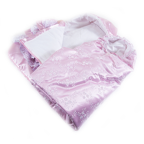 Конверт-одеяло из 2-х предметов цвет розовый фото 4