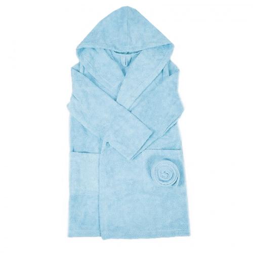 Халат детский махровый с капюшоном голубой 128-134 см фото 1