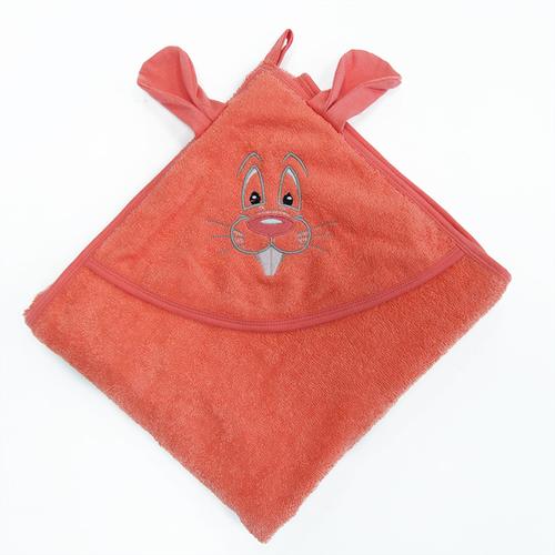 Уголок детский махровый с вышивкой коралловый фото 2