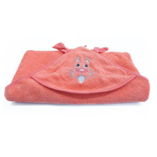 Уголок детский махровый с вышивкой коралловый фото 3