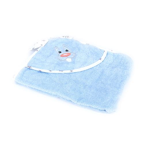 Уголок детский махровый с вышивкой голубой фото 1