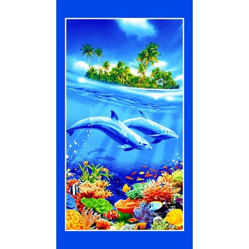 Полотенце вафельное пляжное 326/1 Дельфины 70/150 см фото 1