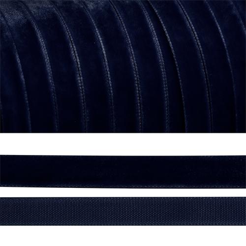 Лента бархатная 20 мм TBY LB2054 цвет т-синий 1 метр фото 1