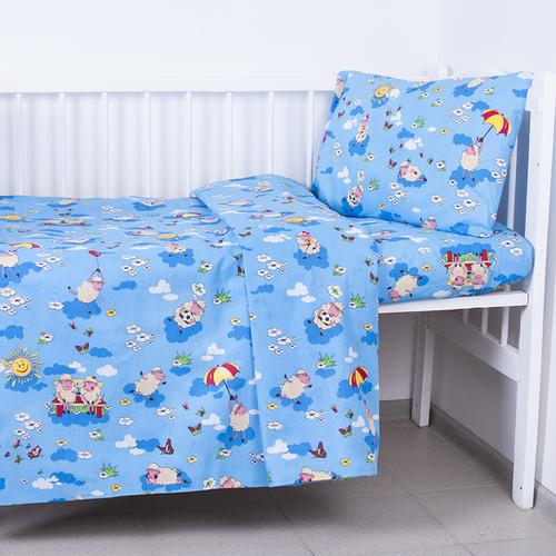 Постельное белье в детскую кроватку из бязи 317/1 Овечки синий фото 1