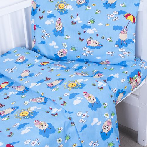 Постельное белье в детскую кроватку из бязи 317/1 Овечки синий фото 4