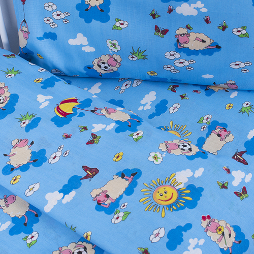 Постельное белье в детскую кроватку из бязи 317/1 Овечки синий фото 2