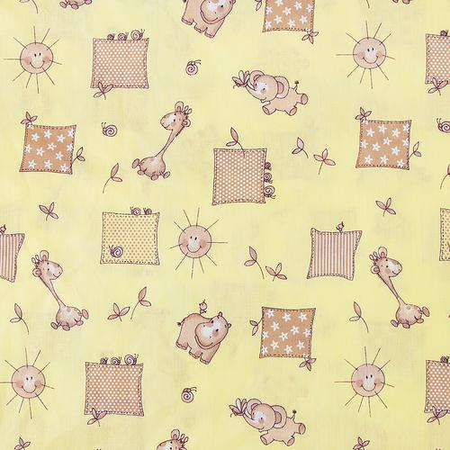 Ткань на отрез бязь 120 гр/м2 детская 150 см 366/4 Жирафики цвет желтый фото 1
