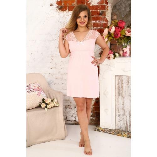 Сорочка Амелия С Кружевом Розовая А41 р 44 фото 1