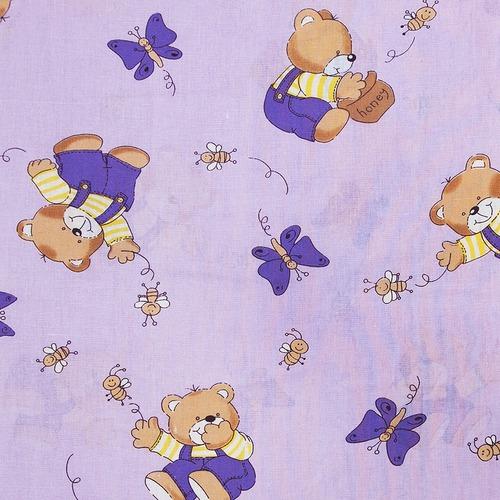 Ткань на отрез бязь ГОСТ детская 150 см 1332/3 За медом цвет сиреневый фото 1