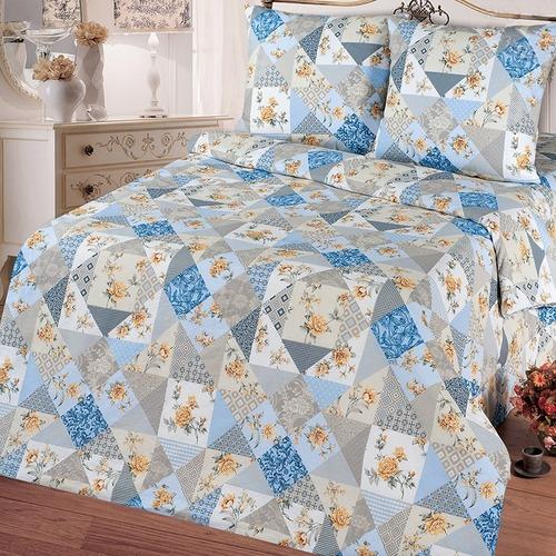 Постельное белье бязь 11098/1 Лоскутная мозаика голубой Стандарт 2-х сп с евро простыней фото 1