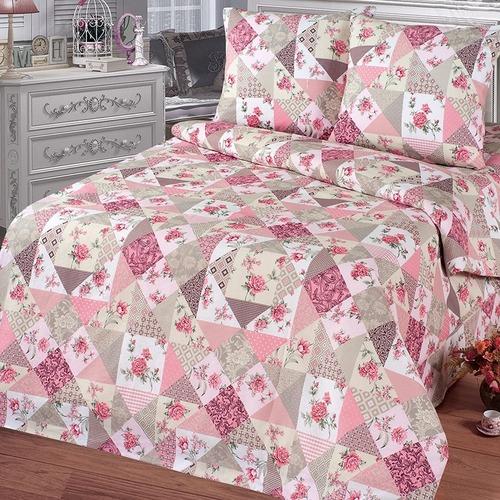 Постельное белье бязь 11098/2 Лоскутная мозаика розовый Стандарт Семейный фото 1