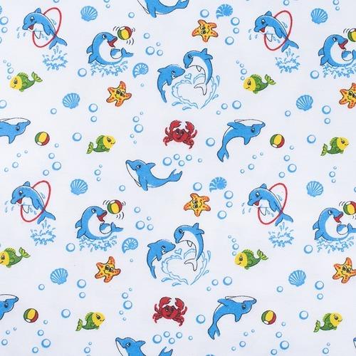 Ткань на отрез фланель 90 см 5105/1 Дельфины фото 1