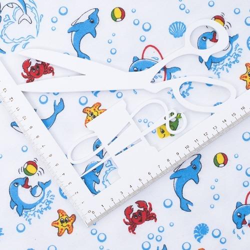 Ткань на отрез фланель 90 см 5105/1 Дельфины фото 2
