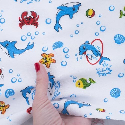 Ткань на отрез фланель 90 см 5105/1 Дельфины фото 4