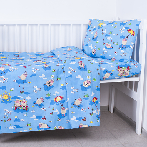 Простынь детская бязь ГОСТ 317/1 Овечки цвет синий 110/150 см фото 1