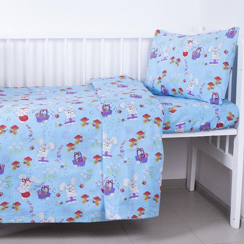 Наволочка бязь детская 1304/4 Лесная сказка цвет голубой 40/60 см фото 1