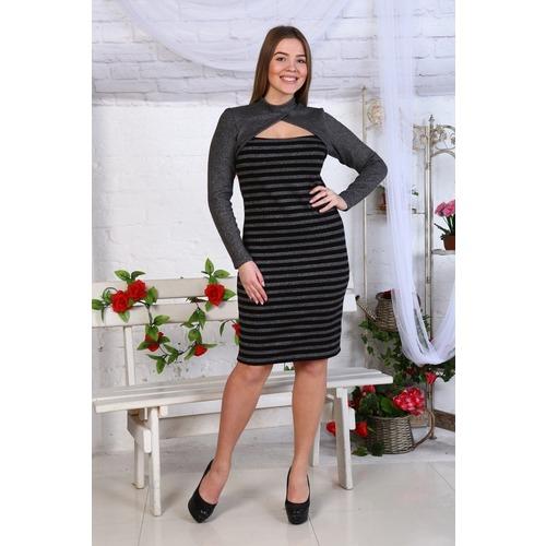 Платье Джесика акрил серое+полоса Д459 р 56 фото 1