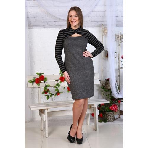 Платье Джесика акрил полоса+серое Д459 р 48 фото 1