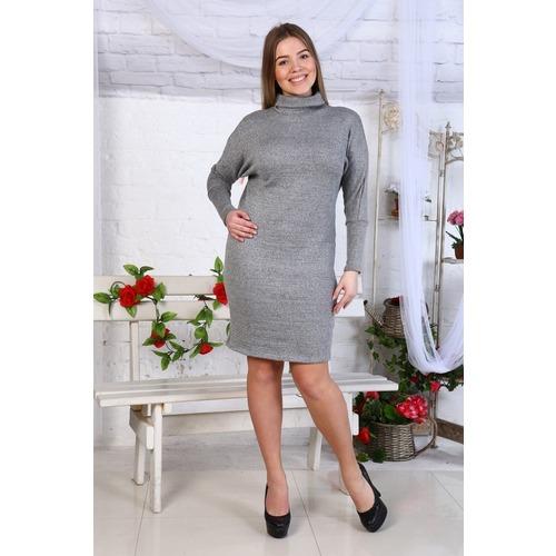 Платье Лия акрил летучая мышь серое Д457 р 54 фото 1