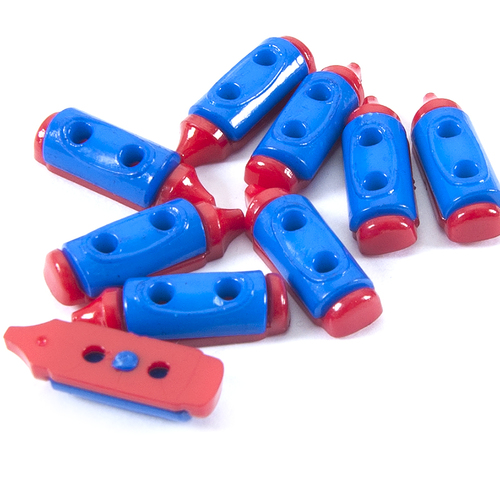 Пуговица детская сборная Карандаш 20 мм красный/синий упаковка 24 шт фото 1