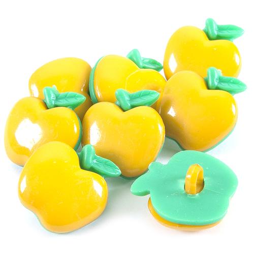 Пуговица детская сборная Яблоко 21 мм цвет желтый упаковка 10 шт фото 1